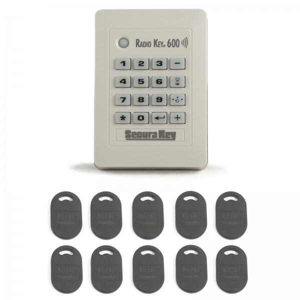 Standalone Proximity Card Reader & Keypad w/ 10 Key Tags - Secura Key RK-600T